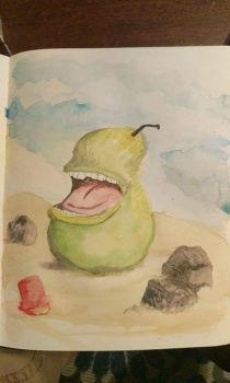 The biting pear on the beach by bacriswell2