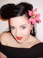 Cerise Lily Hair Flower by rascalkosher
