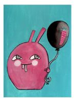 Bunny with carrotballoon by DaffodilLament