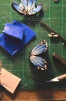 blue butterfly polymer clay cane practice WIP by abohemianbazaar