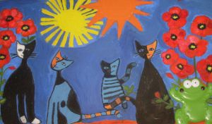frog and poppy cats by ingeline-art
