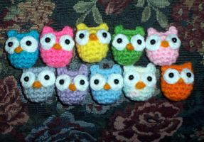 Little Hoots - Tiny Crochet Owl Monsters by happysquidmuffin
