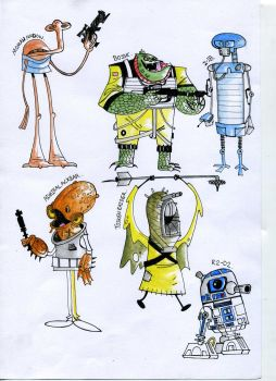 Star Wars Cartoon Water Colour Drawings #1 by Jordan1Kenobi