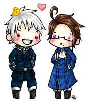 Chibi Gilbert and Roderich by roseannepage