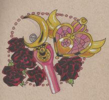 Moonstick and Roses Tattoo Design by kellieabomination