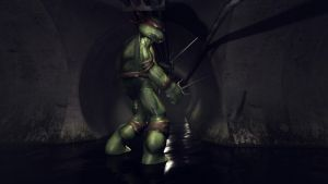 TMNT Raphael in the Sewers by Wallcrawler62
