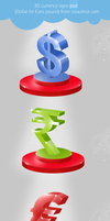 Beautiful 3D Currency Signs PSD for Free Download  by cssauthor