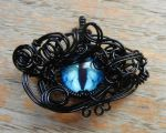 Black Wire Wrap Blue Glass Dragon Eye Pendant by Create-A-Pendant