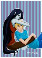 Marceline and Finn- Adventure Time by Nanaruko