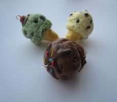Clay Ice Cream Cone Charms! by strawberrycharms