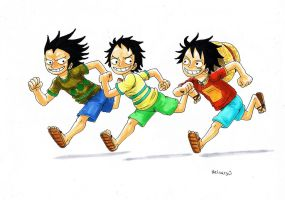 Kids... Dragon,Garp and Luffy by heivais