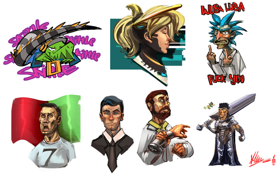 a bunch of stickers by Alumx