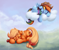 Naps On Ground And Sky (Colored) by AC-whiteraven