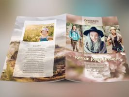 Adventure Large Funeral Program Photosho Template by Godserv