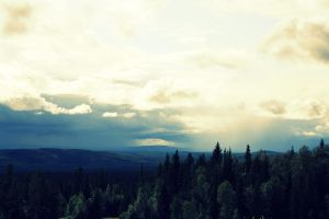 trees, mountains and sky. by xLalawonderland