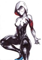 More Spider-Gwen/Spiderwoman copic practice by Thestickibear