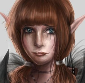 Female Elf Archer Character Concept - Close Up by CharlightArt
