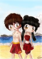 The Beach Couple by Chibi-Joey