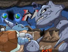 Waylon VS Blastoise by Mitsi1991
