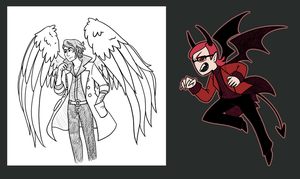 Pokemon Angel and demon AU doodles by roseannepage