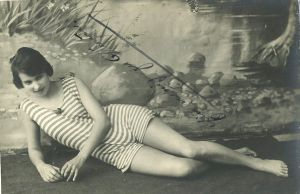 vintage woman in bathingsuit by MementoMori-stock
