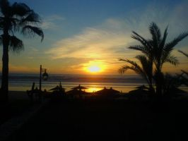 Sunset in Agadir Beach by 4ChaMZ