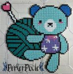 Knitting Bear by PerlerPixie