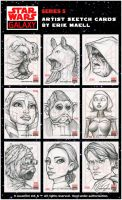 Star Wars Galaxy 5 SketchCards by Erik-Maell