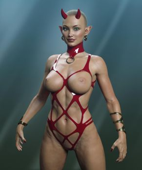 Red Latex Devil Fetish by Livius70