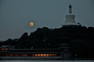 Super Moon over Behai Park Beijing China 02 by Studio5Graphics
