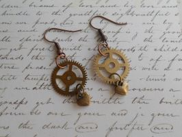 Steampunk earrings with gears and small heart by SteamJo