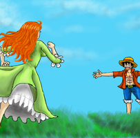 one piece, run and hug him by heivais