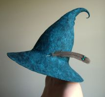 Tall Wide Brim Starry Night Wizard/Witch Hat by HandiCraftKate