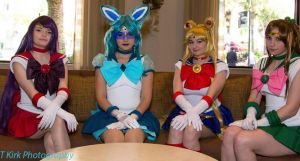 Sailor Glaceon with regular Sailor Scouts by Vahris