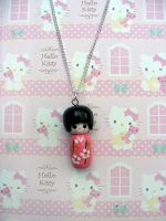 Kokeshi Doll Necklace by morbidfaerytale