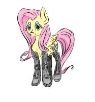 quickie cybernetic fluttershy by Pwnyville