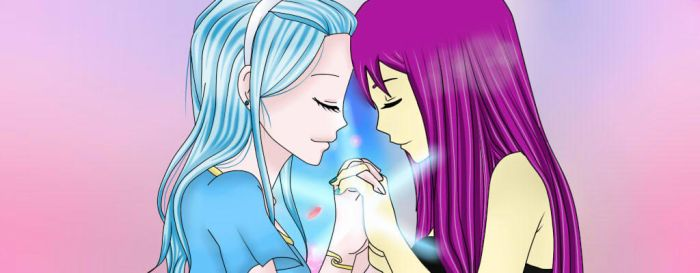 Blue And Purple pc with Yuna-chan by Aoi-Midorima