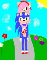 Amy and sonic at the park by Boenana9