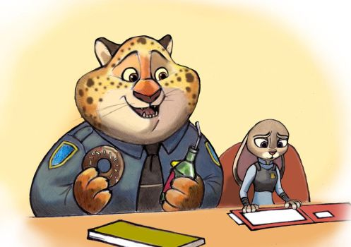 Judy Hopps and Benjamin Clawhauser by zdrer456