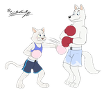 Moon and Hutch fighting by godmoon