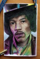 Jimi Hendrix color pencil drawing by AtomiccircuS