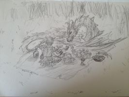 Dragon And Viking Having A Picnic by Darkkitty123