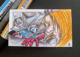 Captain America Vs Thor Sketch Card by rehAlone