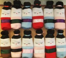 Geisha Doll drawstring pouch invasion by BlueDove415