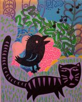Bird and cat by popartmonkey