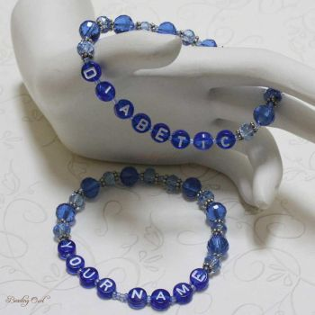 Sapphire Personalized and Diabetic Bracelet Set by BeadingOwl