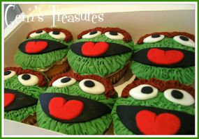 Oscar the Grouch Cupcakes by gertygetsgangster