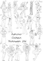 Belated Halloween Sketches 2011 by AzeilaRose