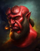 Hellboy Portrait by RynoZebz