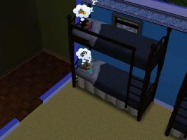 Sims 3 - Annasophia and Violet slept in bunk bed 2 by Magic-Kristina-KW